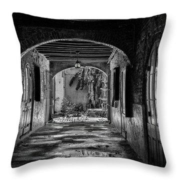 To The Courtyard - Bw Throw Pillow by Christopher Holmes