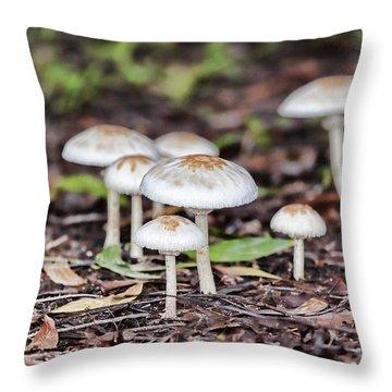 Toadstools V8 Throw Pillow by Douglas Barnard