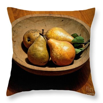Today's Pears Throw Pillow by Gwyn Newcombe