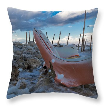 Toes In The Surf Throw Pillow by Scott Campbell