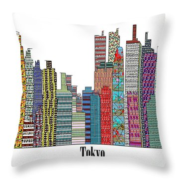 Tokyo City  Throw Pillow by Bri B