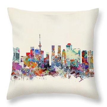 Tokyo Skyine Throw Pillow by Bri B
