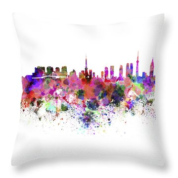 Tokyo Skyline In Watercolor On White Background Throw Pillow by Pablo Romero