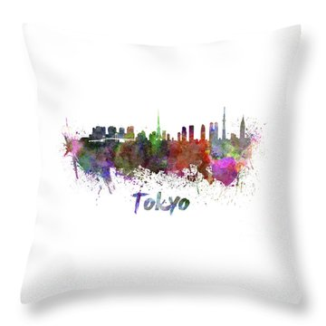Tokyo Skyline In Watercolor Throw Pillow by Pablo Romero