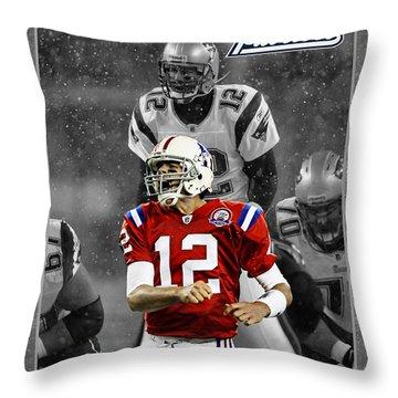 Tom Brady Patriots Throw Pillow by Joe Hamilton