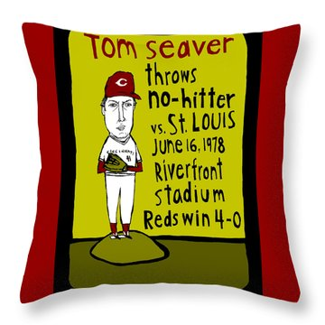 Tom Seaver Cincinnati Reds Throw Pillow by Jay Perkins