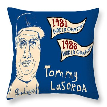 Tommy Lasorda Los Angeles Dodgers Throw Pillow by Jay Perkins