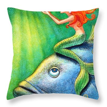 Toot Your Own Seashell Mermaid Throw Pillow by Sue Halstenberg