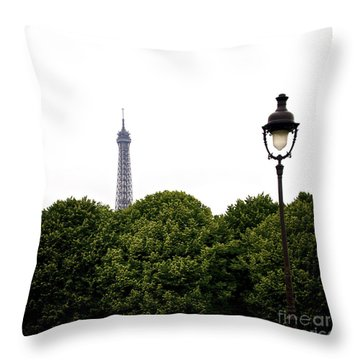 Top Of The Eiffel Tower And Street Lamp. Paris.france. Throw Pillow by Bernard Jaubert