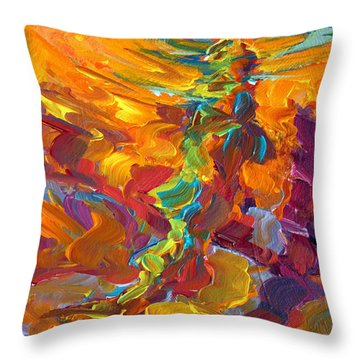 Topwater Trout Abstract Tour Study Throw Pillow by Savlen Art
