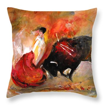 Toro 777 Throw Pillow by Miki De Goodaboom