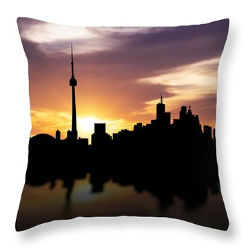 Toronto Canada Sunset Skyline  Throw Pillow by Aged Pixel