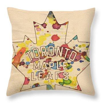 Toronto Maple Leafs Vintage Poster Throw Pillow by Florian Rodarte