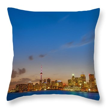 Toronto Skyline Throw Pillow by Sebastian Musial