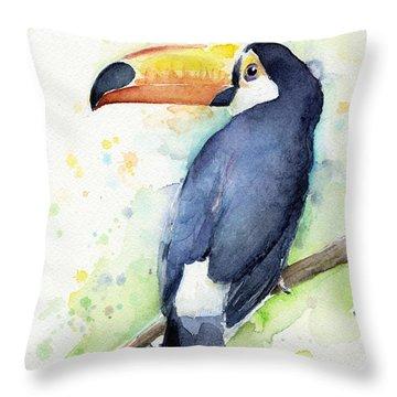 Toucan Watercolor Throw Pillow by Olga Shvartsur