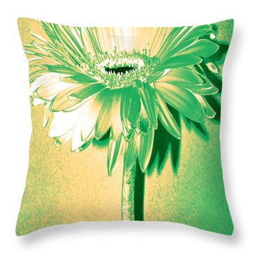 Touch Of Turquoise Zinnia Throw Pillow by Sherry Allen