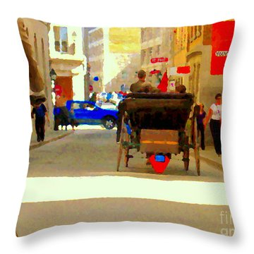 Touring Old Montreal Cyclist Caleche Cars Share Narrow Historic Youville Square City Scenes Cspandau Throw Pillow by Carole Spandau