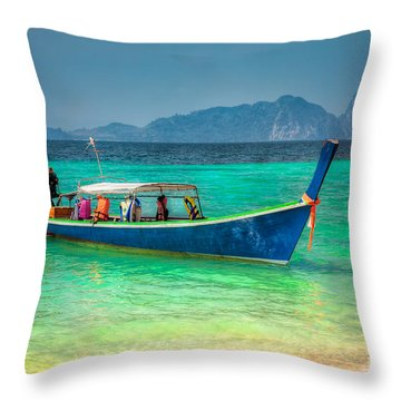 Tourist Longboat Throw Pillow by Adrian Evans