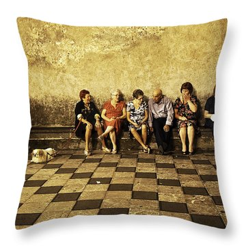 Tourists On Bench - Taormina - Sicily Throw Pillow by Madeline Ellis