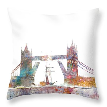 Tower Bridge Colorsplash Throw Pillow by Aimee Stewart