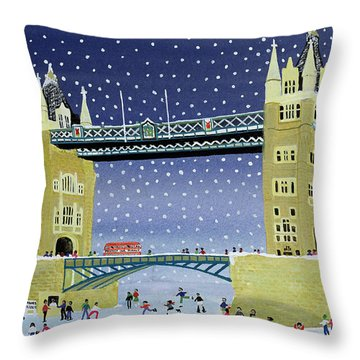 Tower Bridge Skating On Thin Ice Throw Pillow by Judy Joel