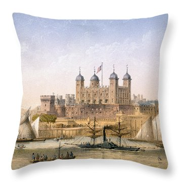 Tower Of London, 1862 Throw Pillow by Achille-Louis Martinet