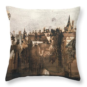 Town With A Broken Bridge Throw Pillow by Victor Hugo