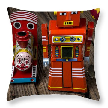 Toy Robot And Train Throw Pillow by Garry Gay