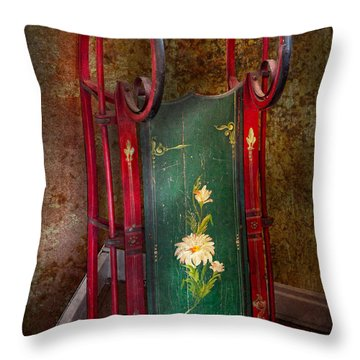 Toy - Sled - Fun Memories With My Sled  Throw Pillow by Mike Savad