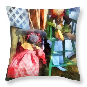 Toys - Two Rag Dolls At Flea Market Throw Pillow by Susan Savad