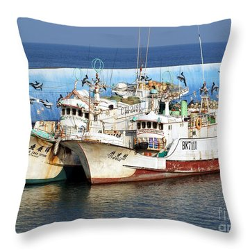 Traditional Chinese Fishing Boats Throw Pillow by Yali Shi