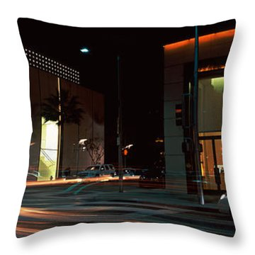 Traffic On The Road, Rodeo Drive Throw Pillow by Panoramic Images