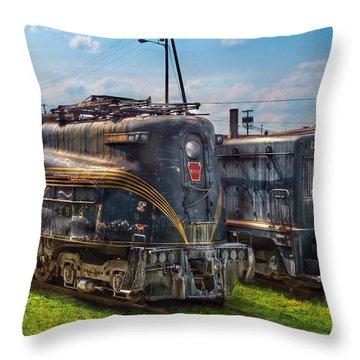 Train - Engine - 4919 - Pennsylvania Railroad Electric Locomotive  4919  Throw Pillow by Mike Savad