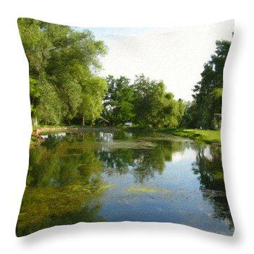 Tranquil - Digital Painting Effect Throw Pillow by Rhonda Barrett