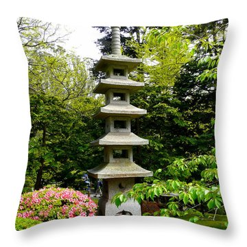 Tranquil Japanese Garden Throw Pillow by Avis  Noelle