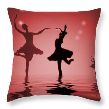 Tranquil Persuasion In Red Throw Pillow by Joyce Dickens