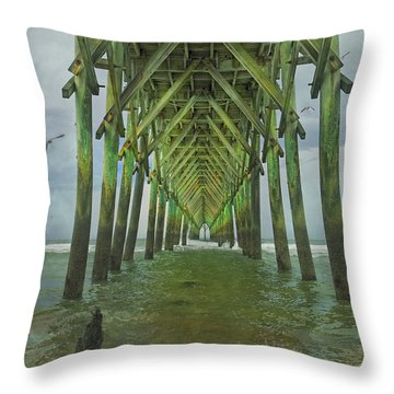 Tranquil Topsail Surf City Pier Throw Pillow by Betsy Knapp