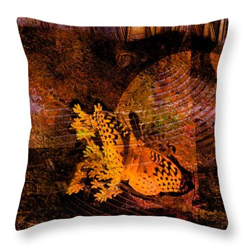 Tranquility Butterfly Collage Art  Throw Pillow by Ann Powell