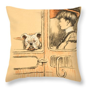 Traveling In First Class Throw Pillow by Cecil Charles Windsor Aldin