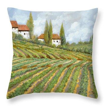 Tre Case Bianche Nella Vigna Throw Pillow by Guido Borelli