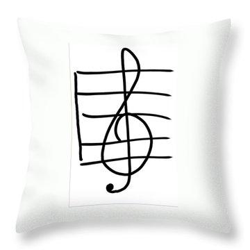 Treble Clef Throw Pillow by Jada Johnson