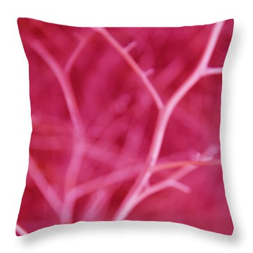 Tree Branches Abstract Hot Pink Throw Pillow by Jennie Marie Schell