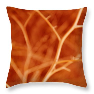 Tree Branches Abstract Orange Throw Pillow by Jennie Marie Schell
