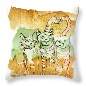 Tree Brothers  Throw Pillow by Anna Ewa Miarczynska