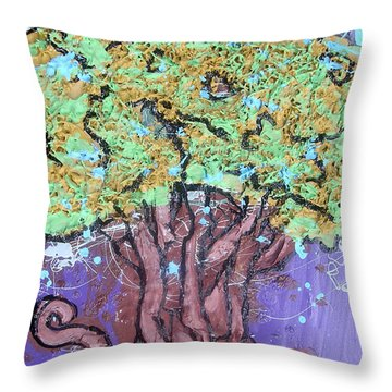 Tree In Three Dee Throw Pillow by Genevieve Esson