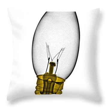Tree Light Bulb X-ray Throw Pillow by Bert Myers