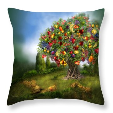 Tree Of Abundance Throw Pillow by Carol Cavalaris