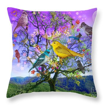 Tree Of Happiness Throw Pillow by Alixandra Mullins