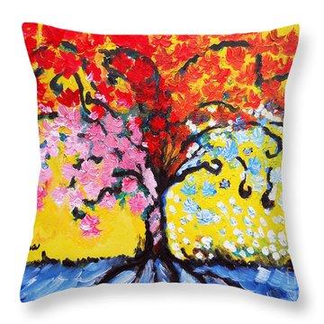 Tree Of Life Throw Pillow by Ramona Matei