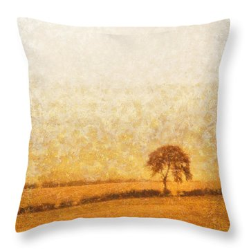 Tree On Hill At Dusk Throw Pillow by Pixel  Chimp